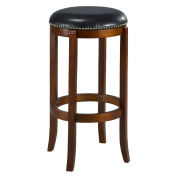 Mintra Cherry Finish Bicast Leather 70cm Swivel Barstool