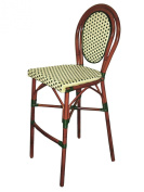 American Trading Company A57-BS IB Parisienne Faux Rattan All-Weather Commercial Stackable Barstool with Aluminium Frame, Ivory Black