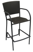 American Trading Company BS083 FW EXP22 Aruba II All-Weather Wicker Barstool with Black Pepper Aluminium Frame, Expresso