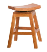 Bare Decor 60cm Pagoda Counter Height Swivel Stool in Solid Teak Wood