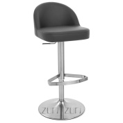 Mimi Adjustable Height Swivel Armless Bar Stool with Brushed Chrome Base