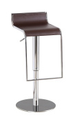 C027B-3 Brown Leatherette Height Adjustable Swivel Bar Stool With Low Back