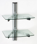 Wall Mount Glass Shelves, Clear Tempered Glass Component Displays with Silver Polished Metal Mounting Bracket - Shelving Units Include All the Necessary Hardware
