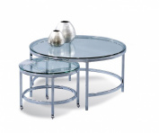 Glass Top Round Cocktail w Nesting Table on Casters - Patinoire