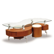 Global Furniture USA T288 Cherry Occasional Coffee Table with Silver Legs