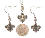 New Orleans Saints Necklace and Dangle Earring Charm Set New Orleans Saints Necklace and Dangle Ear