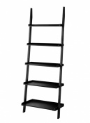 Furniture of America Klaudalie 5-Tier Ladder Styel Bookshelf, Black
