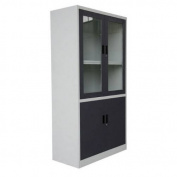 4-Door 5-Shelf Bookcase with Tempered Glass Door Front & Key Lock Entry by Diamond Sofa