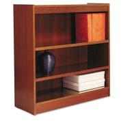 Alera® - Square Corner Wood Veneer Bookcase, 3-Shelf, 35-3/8 x 11-3/4 x 36, Medium Cherry - Sold As 1 Each - Full-finished back provides a professional appearance.