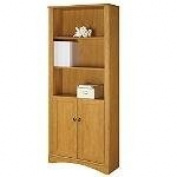 Realspace Dawson 5-Shelf Bookcase With Doors, 180cm H x 80cm W x 29cm D, Canyon Maple