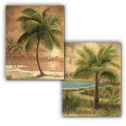 2 ISLAND PALM TROPICAL PRINTS 8x10 SANDY BEACH SUNSET