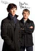 (11.7 X 8.3) Sherlock Tv Print Signed (Pre-print Autograph) Benedict Cumberbatch Martin Freeman