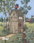 2 Vintage Outhouse Pictures Bathroom Privy Poster Print