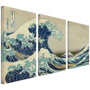 Art Wall 3-Piece The Great Wave Off Kanagawa by Katsushika Hokusai Gallery Wrapped Canvas Artwork