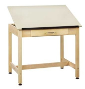 Diversified Woodcrafts DT-1A30 UV Finish Solid Maple Wood Art/Drafting Table with 1 Piece Top and Large Centre Drawer, Plastic Laminate Top, 90cm Width x 80cm Height x 60cm Depth
