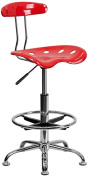Tractor Chrome and Vibrant Cherry Tomato Drafting Stool