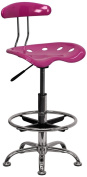 Tractor Chrome and Vibrant Pink Drafting Stool