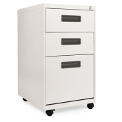Alera® - Three-Drawer Mobile Pedestal File, 15-7/8w x 19-3/4d x 28-1/4h, Light Grey - Sold As 1 Each - Recessed drawer pull.