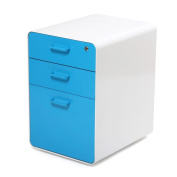 Poppin Locking Steel File Cabinet, 3-drawer, 60cm Tall, Letter/legal, Pool Blue