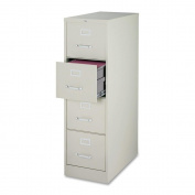 Lorell 4-Drawer Vertical File, 15 by 22 by 52, Light Grey