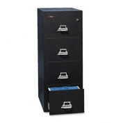 4-Drawer Vertical File, 20-13/16w x 25d, UL 350 for Fire, Legal, Black