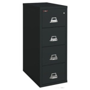 4-Drawer Vertical File, 20-13/16w x 31-9/16d, UL 350° for Fire, Letter, Black