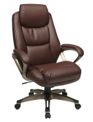 Work Smart Executive Eco Leather Chair with Coil Spring Seat, Padded Arms and Coated Base