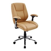 Realspace(R) Eaton Mid-Back Bonded Leather Chair, Tan/Black