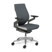 Gesture Chair by Steelcase - Wrapped Back - Platinum Metallic Frame - Seagull Accents - Platinum Metallic Base - Standard Carpet Casters - Connect Graphite Fabric