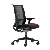 Think Chair by Steelcase - Black Frame and Base - No Lumbar - Adjustable Arms - Standard Carpet Casters - Black 3D Knit Fabric Back - Eggplant Seat