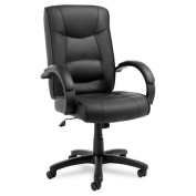 Alera® - Strada Series High-Back Swivel/Tilt Chair, Black Leather Upholstery - Sold As 1 Each - Tailored seat and back with top-grain leather upholstery.