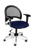 Ofm - Navy Modern Moon Mesh Back Swivel Chair With Adjustable Arms