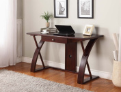 Roundhill Solid Wood Computer Desk, Brown