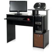 Furinno 12095BK/BR Econ Multipurpose Home Office Computer Writing Desk with Bin, Black/Brown