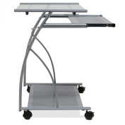 Calico Designs 50101 L-Shaped Computer Cart with Clear Glass, Silver