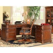 Bristol Court L-Shaped Desk w Return in Cognac Cherry Finish