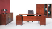Ford Executive Modern Desk with Filing Cabinets - Light Wood Finish