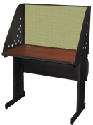 Pronto Pronto School Training Table with Carrel and Lockable Raceway, 36W x 24D - Dark Neutral Finish and Peridot Fabric