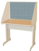 Pronto Pronto School Training Table with Carrel and Lockable Raceway, 36W x 24D - Putty Finish and Slate Fabric