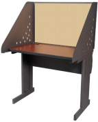 Pronto Pronto School Training Table with Carrel and Lockable Raceway, 36W x 30D - Dark Neutral Finish and Beryl Fabric