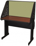 Pronto Pronto School Training Table with Carrel and Lockable Raceway, 42W x 24D - Dark Neutral Finish and Peridot Fabric