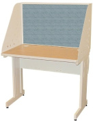 Pronto Pronto School Training Table with Carrel and Lockable Raceway, 42W x 24D - Putty Finish and Slate Fabric