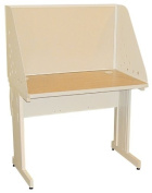 Pronto Pronto School Training Table with Carrel and Lockable Raceway, 42W x 30D - Putty Finish and Beryl Fabric