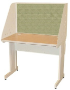 Pronto Pronto School Training Table with Carrel and Lockable Raceway, 42W x 30D - Putty Finish and Peridot Fabric