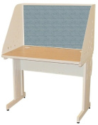 Pronto Pronto School Training Table with Carrel and Lockable Raceway, 42W x 30D - Putty Finish and Slate Fabric