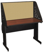 Pronto Pronto School Training Table with Carrel and Lockable Raceway, 48W x 30D - Dark Neutral Finish and Beryl Fabric