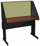 Pronto Pronto School Training Table with Carrel and Lockable Raceway, 48W x 30D - Dark Neutral Finish and Peridot Fabric