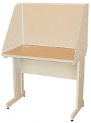Pronto Pronto School Training Table with Carrel and Modesty Panel Back, 36W x 24D - Putty Finish and Beryl Fabric