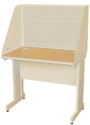 Pronto Pronto School Training Table with Carrel and Modesty Panel Back, 36W x 24D - Putty Finish and Chalk Fabric