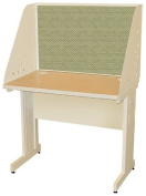 Pronto Pronto School Training Table with Carrel and Modesty Panel Back, 36W x 24D - Putty Finish and Peridot Fabric